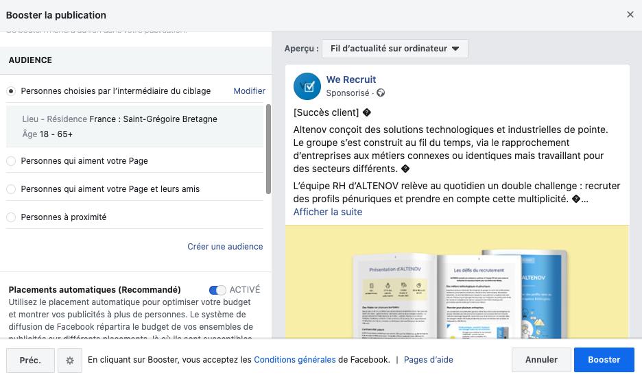 Sponsoriser une publication Facebook