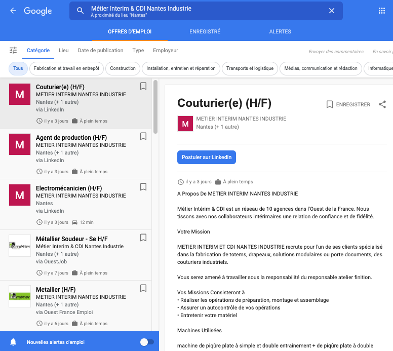La plateforme de Google for Jobs