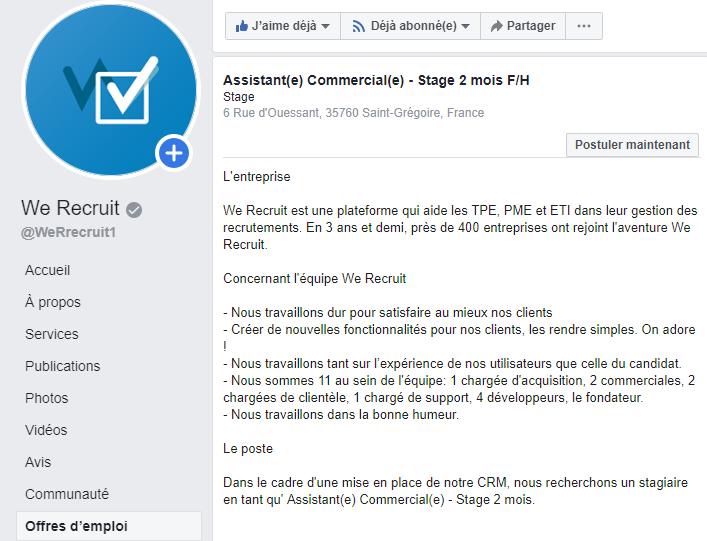 Annonce d'emploi sur Facebook Jobs