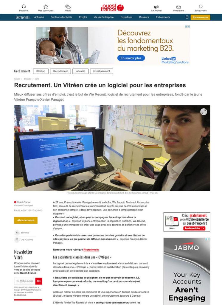 Article Ouest France sur We Recruit - Novembre 2017