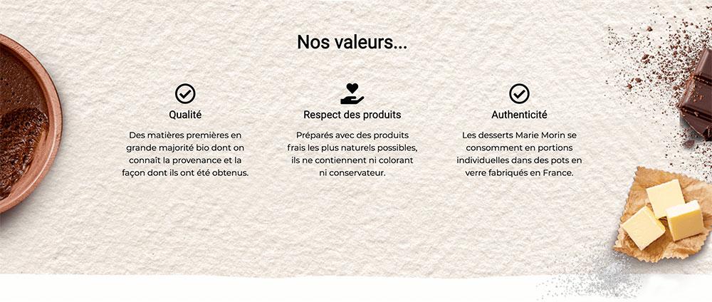 Extrait du site carrière de Marie Morin : les valeurs de l'entreprise